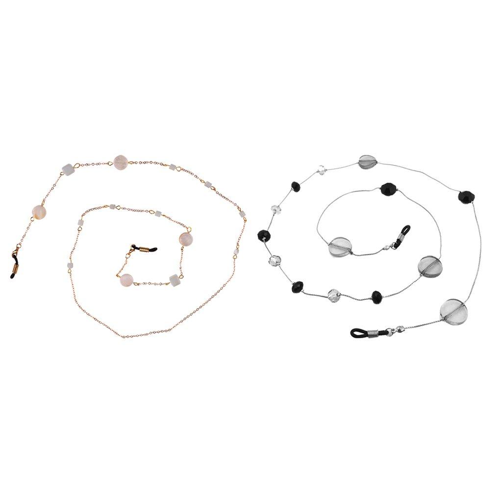 Baoblaze Confezione da 2pcs Moda Catena per Occhiali Catene Corde Cordini per Occhiali da Sole Donna