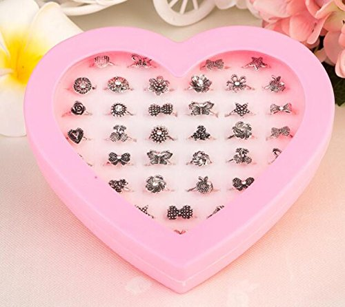 Zhahender Little Girls Accessory Jewellery Toy 36 Pcs/Set New Children's Ring Boutique Love Gift Box Ring (Alloy Ring) by Zhahender