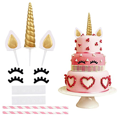 Unicorn Cake Topper 1st Birthday Wedding Cake Toppers Set Cute Gold Glitter Reusable Unicorn Horn Ears Eyelashes Party Baby Shower Decorations Kids Girls Handmade Spiral Crown Cake Toppers Big