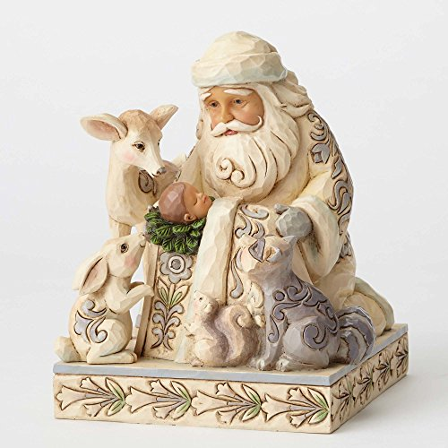 Jim Shore Heartwood Creek White Woodland Santa with Baby Jesus 4053687 Figurine ()