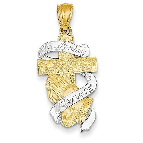 Or jaune 14 carats rhodié en mémoire de croix JewelryWeb