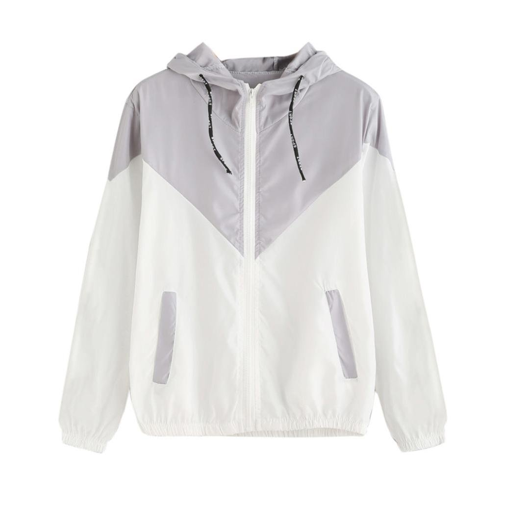Women Hoodie Jacket,Lelili Warm Three-Color Patchwork Long Sleeve Zip Button Up Pockets Jacket Outwear Coat with Hood (S, Gray)