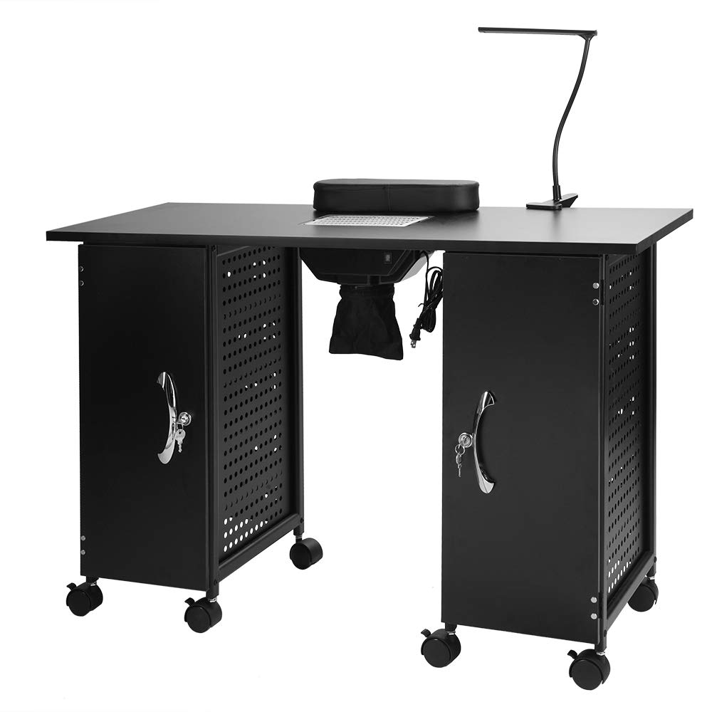 Mefeir Manicure Table Iron Frame, Nail Beauty Spa Salon Desk Workstation with Electric Downdraft Vent, Wrist Rest, Cabinets, Casters and Clip-On LED Lamp, Black (43.3''L x 16.9''W x 29.1''H)
