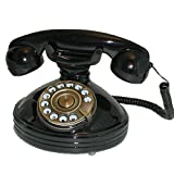 SNW30PB Black Glossy Telephone with Push Buttons in Dial shape - Nostalgic Retro Phone SNW30 PB'