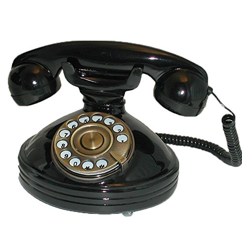 SNW30PB Black Glossy Telephone with Push Buttons in Dial shape - Nostalgic Retro Phone SNW30 PB' (Black Dial Glossy)