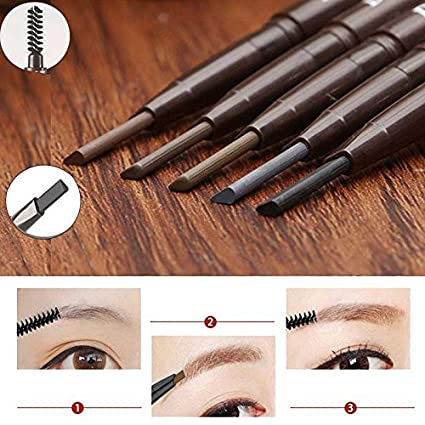 JaneDream Double Head Eyebrow Pencil Waterproof Automatic Eyeliner Pen Drawing Eye Brow Brown 3#