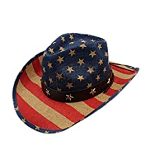 "Battle Men Women's Cowgirl Straw Cap Men's Western Cowboy Hat American Flag Style with Leather Belt 22"" ( Color : Multi-colored , Size : 58CM )"