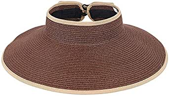 Women's UPF 50+ Packable Wide Brim Roll-Up Sun Visor Beach Straw Hat,DeepCoffee,OneSize Beige