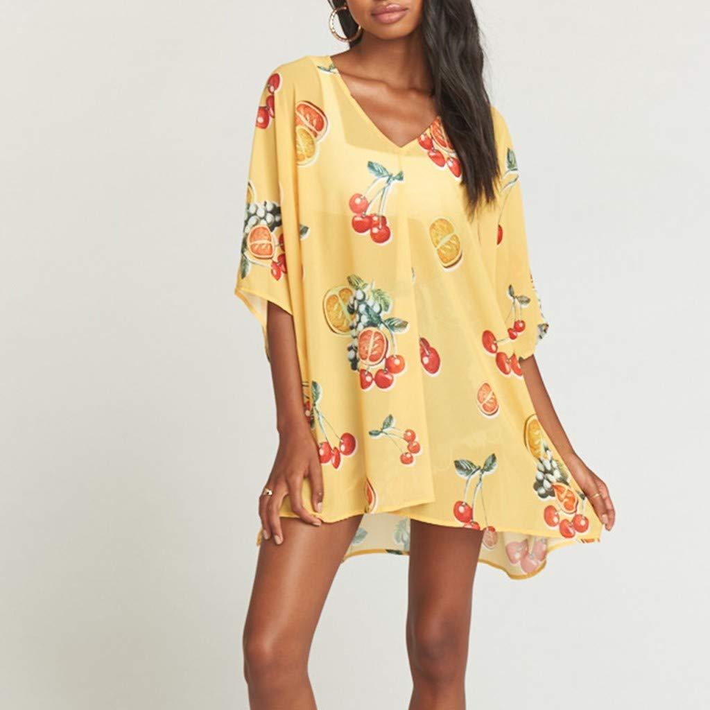 BNisBM Women V Neck Floral Print Batwing Sleeve Loose Blouse Tops Summer Casual Bohemian Shirt