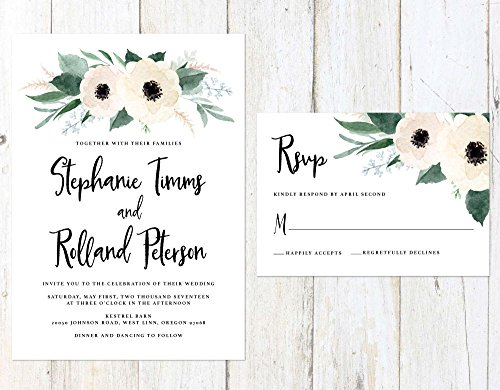 Floral Wedding Invitation, White Flowers Wedding Invitation, Greenery and White Wedding, Cream and Greenery Invitation by Alexa Nelson Prints