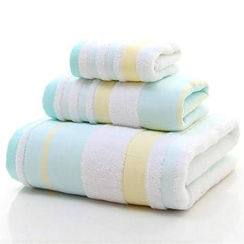 Baño Clásico Suministros Albornoz Juego de 3 Toallas de baño de algodón Puro Juego de Toallas de baño con Toalla de baño (Color : Azul): Amazon.es: Hogar