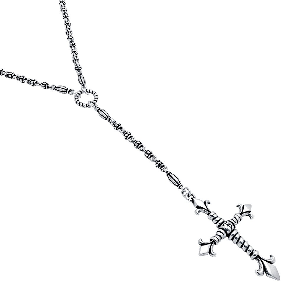 Twisted Blade 925 Sterling Silver Silver Studded Link 32'' With Large Fleur De Lis Rope Cross Necklace