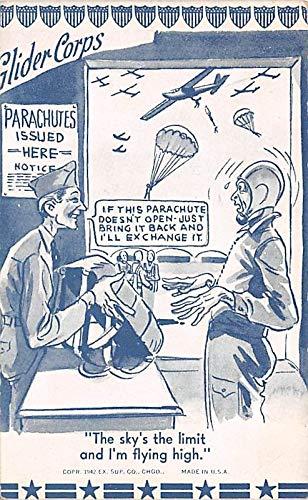 Military Comic Postcard, Old Vintage Antique Post Card Glider Corps Unused ()