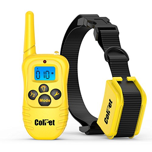 Colpet Dog Traing Collar - Colpet 330yard Rechargeable and Waterproof Remote Dog Shock Collar with Beep, Vibration and Shock Electronic Collar, Orange/Yellow (Yellow)