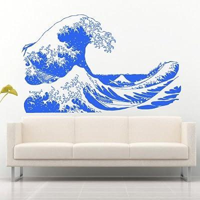 Wall Decal Art Decor Decals Sticker Wave Water Ocean Sea Mountain Landscape Bathroom Design Mural (M933)