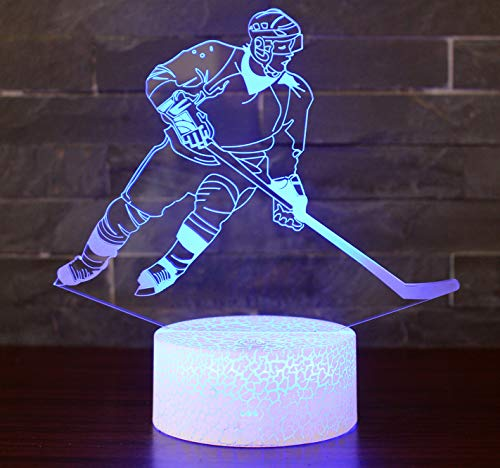 Hockey Night Light with 7 Colors Changing- LED 3D Optical Illusion Lamp for Kids Room Decor and Hockey Fans (Hockey) ()