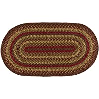IHF Home Decor Area Floor Carpet 27 x 48 Inch Oval Braided Rug Cinnamon Design Jute Fabric