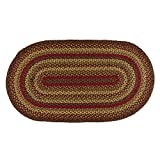 IHF Home Decor Oval Braided Rug 22 x 72 Inch Cinnamon Design Jute Fiber