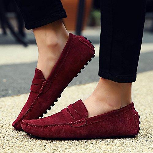 Icegrey Hommes Passant Conduite Chaussures Suède Flâneurs Rouge Sombre 41