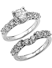 elegant engagement wedding ring set with 43 carat total weight cz in 14k white gold - Wedding And Engagement Rings