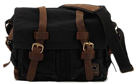 2c7c7ddef4 Sechunk Sechunk Canvas Leather Messenger Bag Shoulder Bag Cross Body Bag  for Men Military Travel Women