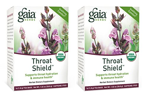 (Gaia Herbs Throat Shield Herbal Tea Bags, 16 Count (2-Boxes))