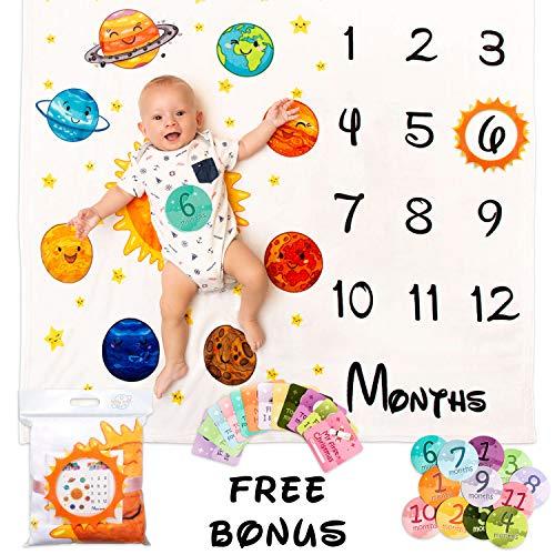 BabyOrbit Baby Monthly Milestone Blanket - 43x47 inches   12x Card + 12x Sticker