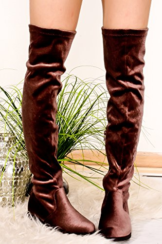 FOREVER LINK ROUND TOE SIDE ZIPPER VELVET LOOK KNEE HIGH BOOT Taupe-jalen-h5 aG3gnW9