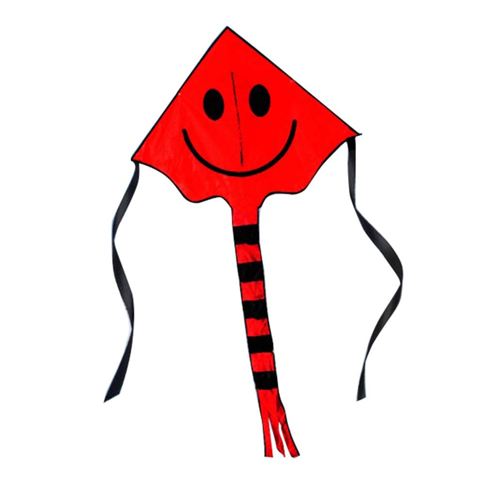 BrawljRORty Flying Kite,Smiling Face Long Tail Triangle Flying Kite with 50m Line Children Kids Toy,Outdoor Toys