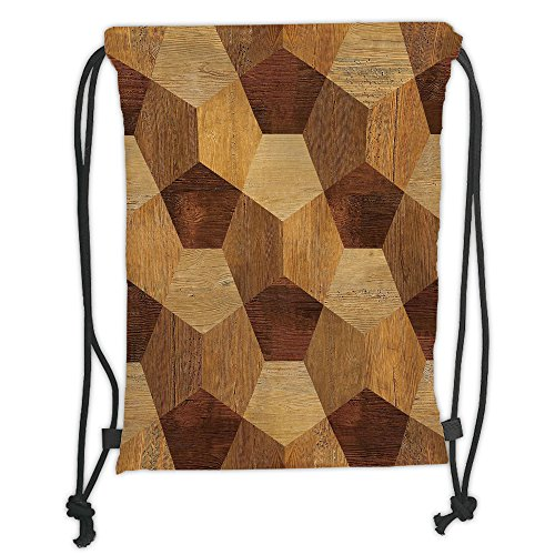 Custom Printed Drawstring Sack Backpacks Bags,Retro,Abstract Parquet Flooring Wooden Rustic with Geometric Monochrome Pattern,Brown Light Brown Soft Satin,5 Liter Capacity,Adjustable String Closure,Th