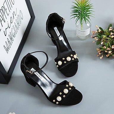 LvYuan Mujer Sandalias Confort Tejido Verano Casual Paseo Confort Hebilla Tacón Robusto Negro Amarillo 5 - 7 cms Black