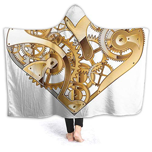 Wearable Hooded Blanket Beautiful Mechanical Love Tech Digital Print Hooded Throw Wrap Premium Fleece Warm Throw Blanket Hooded Cloak for Adults and Children Sherpa Fleece 40