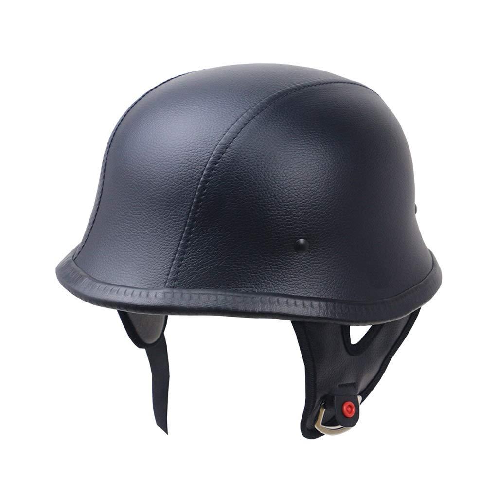 ヘルメット オートバイヘルメット、メンズレディースオールラウンドサイクリングペダルオートバイ電気自動車レトロハーフヘルメット安全キャップスポーツアウトドア  Leather black 3XL B07PYP6L5J