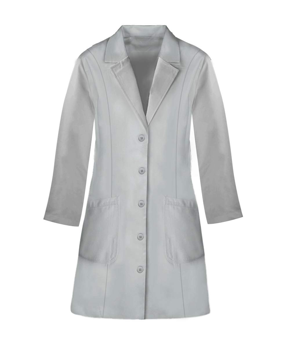 Panda Uniform Custom Colored Lab Coat for Women 36 Inch length-Grey-2XL