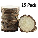 Yexpress Unfinished Natural Thick Wood Slices Circles with Tree Bark Log Discs for DIY Craft Christmas Rustic Wedding Ornaments (3.5-4 Inch)