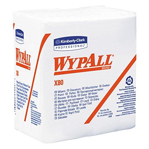80 Shop Towels - WypAll 41026 X80 Cloths, HYDROKNIT, 1/4 Fold, 12 1/2 x 12, White, 50 per Box (Case of 4 Boxes)
