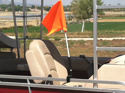 Pontoon Boat Flag Holder. Orange Safety Flag Included. Tired of Holding The Skier Down Flag? Just clamp The Flag Buddy to Your Boat and Rotate it up When Required. Rubbber Clamping Pads. ()