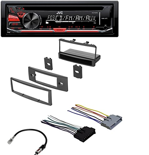 CAR RADIO STEREO RADIO KIT DASH INSTALLATION MOUNTING W/ WIRING HARNESS FOR MERCURY AND FORD 1999-2004 W/ JVC KD-R370 Single DIN In-Dash CD/AM/FM/ Receiver with Detachable Faceplate