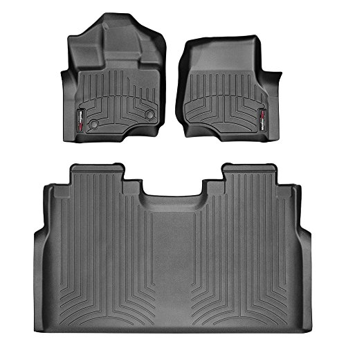 2015-2018 Ford F-150-Weathertech Floor Liners-Full Set 1st Row Bucket Seating (Includes 1st and 2nd Row)-Fits Supercrew Models Only-Black from WeatherTech