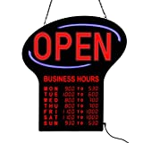 Artistic 34089 23.5'' x 21.25'' LED ''OPEN'' Sign with Programmable LED Business Hours Sign, Black