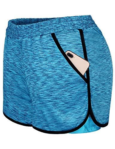 Blevonh Shorts for Women,Misses Plus Size Athletic Clothes Sport Yoga Short Pants Elastic Waist Side Pockets Black Hem Above Knee Straight Fit Summer Cooling Wear Blue XXL