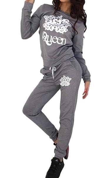 ad102e192aa5 Moollyfox Donna Casual Maglione Tuta Collo Rotondo Stampa Felpa Pullover +  Pantaloni 2 Pezzi: Amazon.it: Abbigliamento