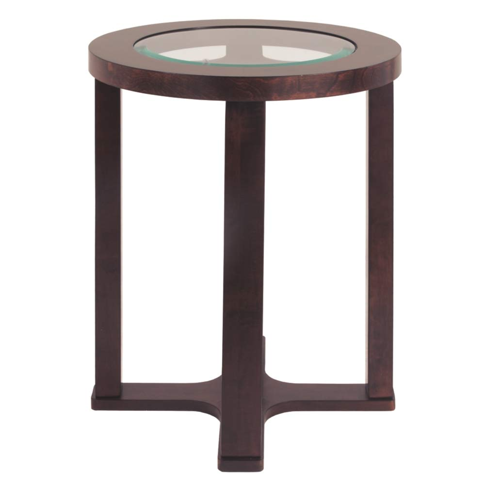 Ashley Furniture Signature Design - Marion Chair Side End Table - Contemporary Style - Round - Dark Brown with Beveled Glass Top