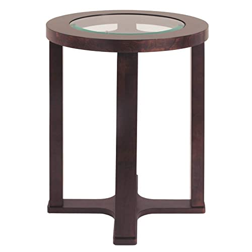 Signature Design by Ashley – Marion Round Chairside End Table, Dark Brown with Glass Top