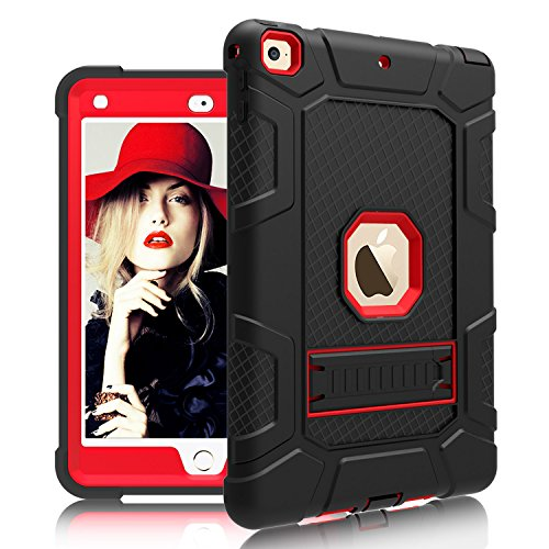DONWELL Compatible for iPad 5 iPad 6 Case 9.7 inch 2018/2017 Shockproof Defender Protective Cover with Kickstand Designed for iPad 5th 6th Generation Model A1823 A1822 A1893 (Type1- Black/Red)