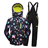 MingAo Big Girls' Thicken Warm Hooded Ski Snowsuit Jacket +Pants Two-Piece Set Black 13-14 Years