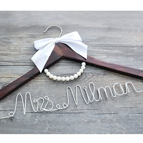 Personalized bridal dress hanger wire hanger for Wedding dress hanger amazon