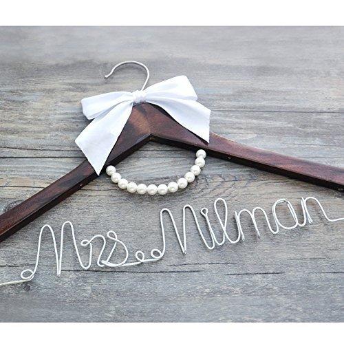 Personalized Bridal Dress Hanger Wire Hanger, Custom Bridal Dress Hanger Bride Shower Gift , Custom Wedding Dress Hanger Wedding Name Hanger Personalized Bride Bridesmaid Wedding Hanger