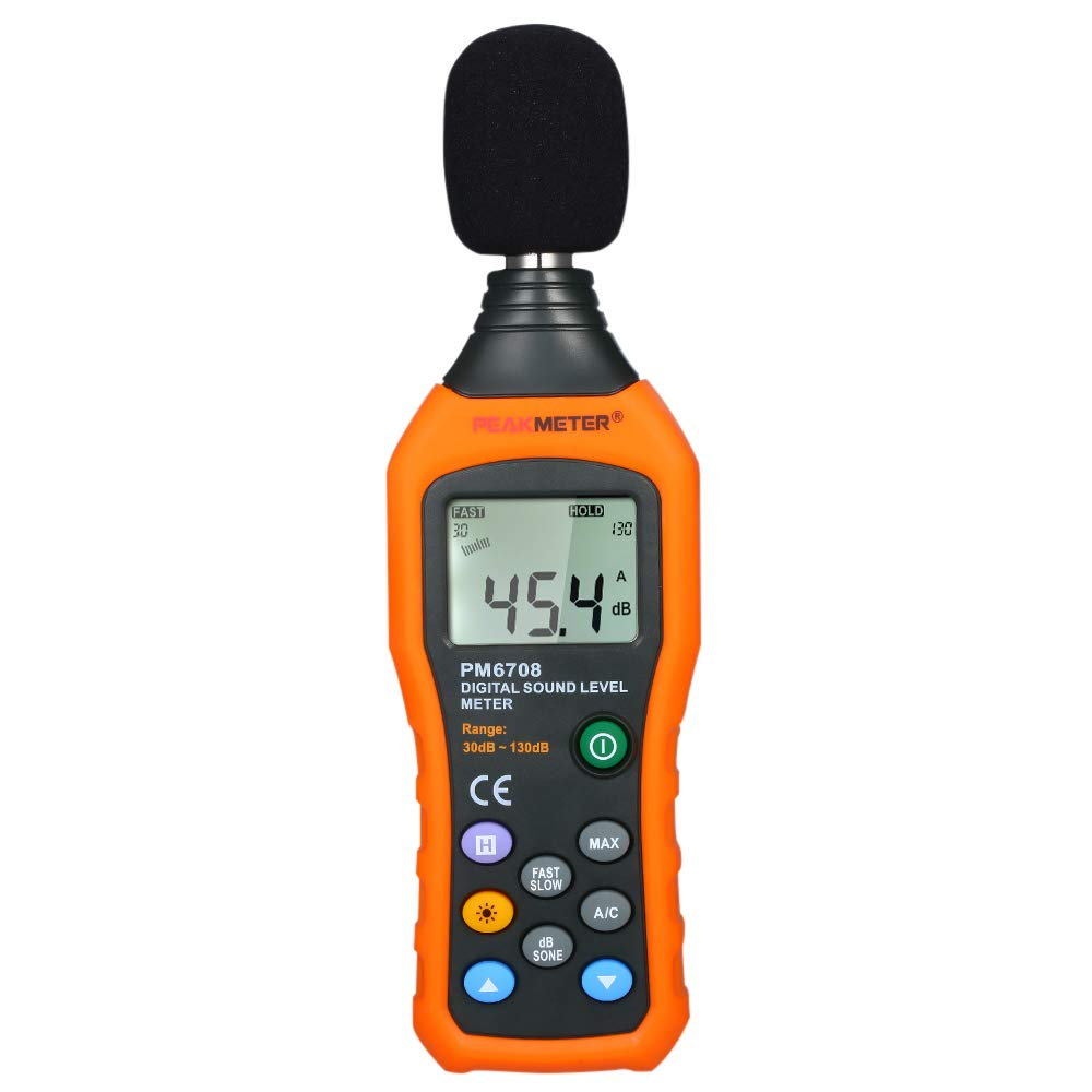 Leepesx High Accuracy LCD Digital Noisemeter Sound Level Meter 30-130dB Noise Volume Measuring Instrument Decibel Monitoring Tester with A and C Frequency Weighting for Sound Level Testing