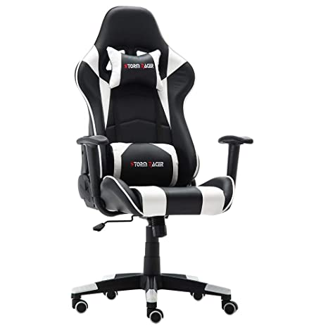 Storm Racer Erogonomic Gaming Chair Large Size Racing Style Computer Home Office Chair (White,S)
